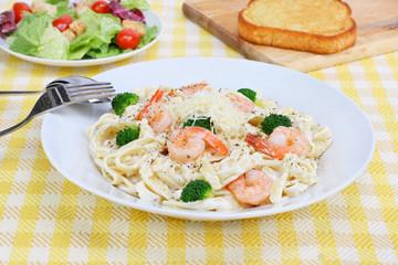 Shrimp Fettucini in Alfredo Sauce