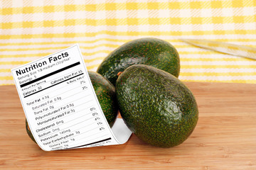 Healthy whole Avocados with Nutrition Label