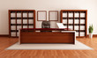 elegant wooden modern office,rendering