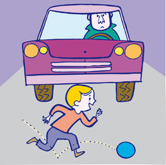 Boy and ball, accident with car. Vector illustration cartoon.