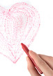 Hand with wax crayon drawing heart