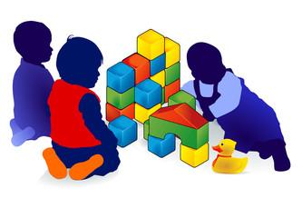 drei Kleinkinder spielen