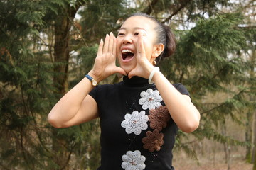 Chinese girl shouting