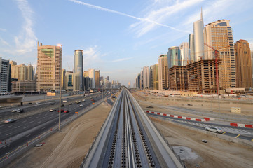 Metro line at Sheikh Zayed Road in Dubai, UAE