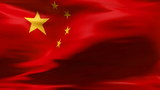 Creased Chinese flag in wind with seams and wrinkle poster