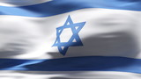 Creased Israeli flag in wind with seams and wrinkle poster