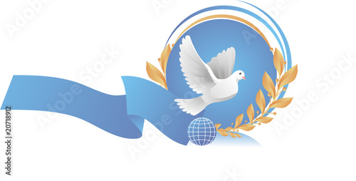 Vignette with dove of peace