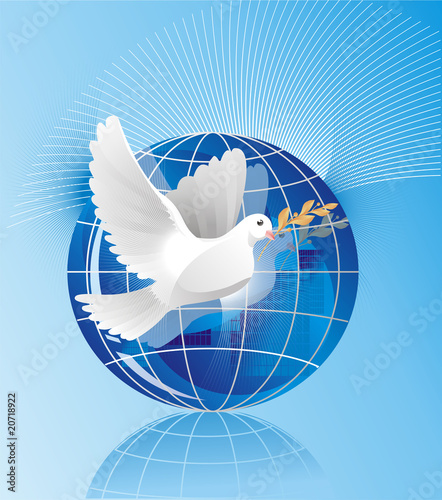 dove of peace near crystal globe