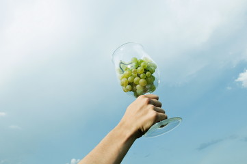 Hand of young woman holding a wineglass of white grapes in the air