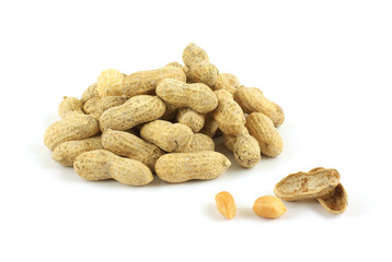 Group of  fresh raw roasted peanuts