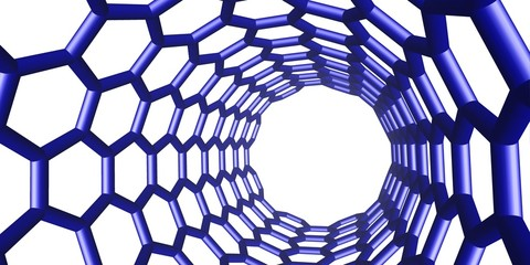 blue molecular nanotube structure on white background