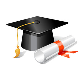 Graduation cap and diploma. Vector illustration