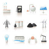 Fototapety power industry icon set