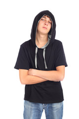 teenager in hood isolated on the white
