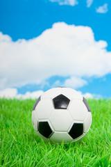 a football on a green lawn against a blue cloudy sky