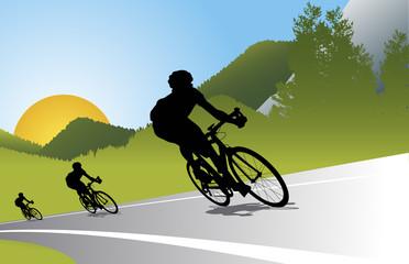 Mountain bike set with man and bike
