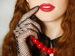 Fashionable portrait of the girl with red lips