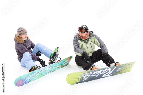 pair of snowboard wear snowboards