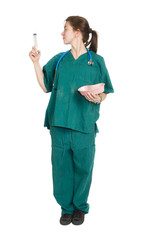 female nurse or doctor with syringe on a white background