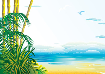 Jungle on the ocean background. Vector art-illustration.