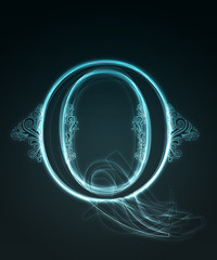 Glowing font. Shiny letter Q.