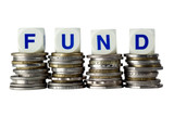 Stacks of coins with the word FUND isolated on white poster