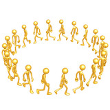 Gold Guys Walking In A Circle
