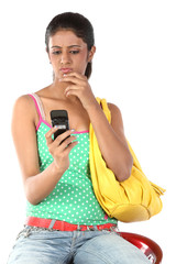 woman sending sms with cell phone