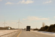 Indiana Wind Turbines loom over the highway
