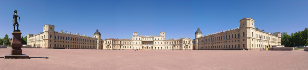 Panoramic view on Gatchina Palace, Petersburg, Russia