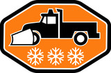 Snow plow truck with snowflake icon