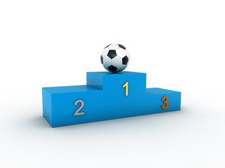 Isolated blue podium and soccer ball.