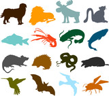 Set of animals icons  - silhouettes 01