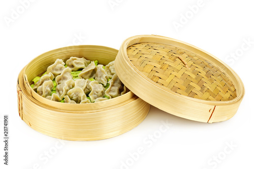 Bamboo steamer with dumplings