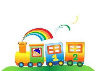 Cartoon boy in the color train