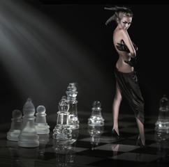 Pretty brunette standing on a chessboard