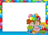 Frame with celebrating children-