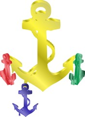 Four anchors in 3D in different colors