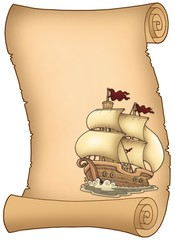 Scroll with old sailboat