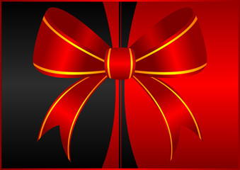 Red ornamental bow isolated over two color background