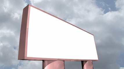 Large blank billboard against sky Time lapse