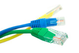 Three colored ethernet plugs poster