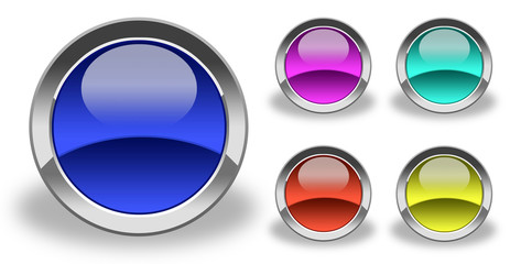 empty icons & buttons glass and colorized