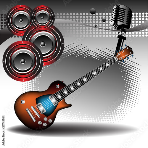 Electric guitar and loudspeakers