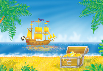 Pirate ship and treasures chest on a tropical beach
