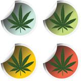 Fresh stick labels with marijuana leaf poster
