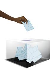 Main noire qui vote