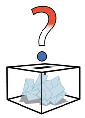 Urne de vote et point d'interrogation tricolore