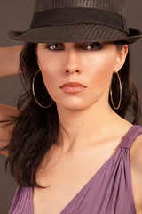 beautiful woman wearing hat