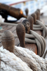 Belaying pins and rope